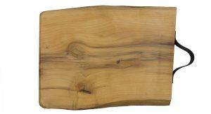 Plank met leren handvat